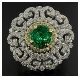 18kt Gold 2..56 ct Round Emerald & Diamond Ring