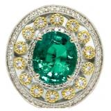 14kt Gold Oval 4.85 ct Emerald & Diamond Ring