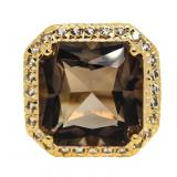 Cushion Cut 7.50 ct Smoky Topaz Designer Ring