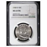 1958-D MS 64 FBL Franklin Half Dollar