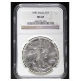 1987 MS69 American Eagle Silver Dollar