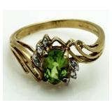 Genuine Peridot & Diamond Dinner Ring