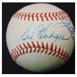 DiMaggio and Hodges Signed Baseball. PSA.