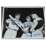 Mantle, Snider, & Pee Wee Reese Signed Photo