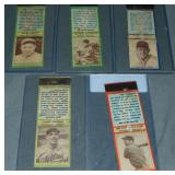 (5) 1935 Baseball Diamond Matchbook Covers
