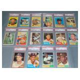 (16) Topps Baseball Cards 1955-1964 Slabbed
