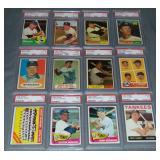 (12) Topps Yankees Baseball Cards 1960-66 Slabbed