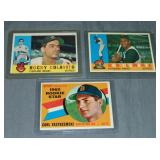 (3) 1960 Topps Baseball Cards, YAZ, Clemente