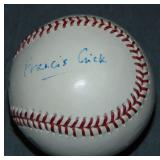Francis Crick.  Baseball Signed.