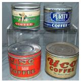 Lot of Four One Pound Key Wind Coffee Tins.