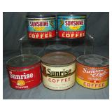 Lot of Five One Pound Key Wind Tins.