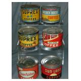 Lot of Six One Pound Key Wind Tins.
