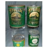 Hygeia Coffee. Lot of Four Tins.