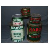 Nabob Coffee. Lot of Five Tins.