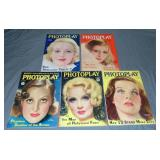 Lot of Five High Grade Photoplay Magazines.
