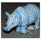 Herend Figurine. Blue Fishnet Rhino