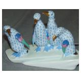 Herend Figurine. Blue Fishnet Penguins