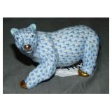 Herend Figurine. Blue Fishnet Polar Bear