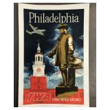 TWA Trans World Airlines Philadelphia Poster