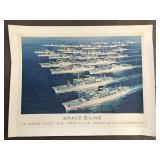 1960 Grace Line Fleet Ship Travel Poster
