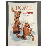 1956 Fly TWA Rome Travel Poster