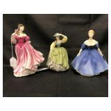 Royal Doulton Porcelain Figurines. Lot of 3