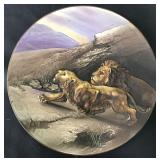 Nippon Blown Out Plate with Lion & Lioness.