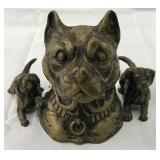Bronze Inkwell. Dogs.