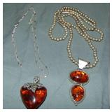 Lot of Amber Silver Pendant Necklaces.