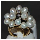 Gold, Pearl and Diamond Ring
