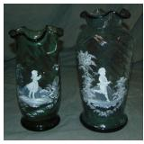 Mary Gregory Glass. Vases (2)
