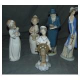 Lladro Nao Figurines. Lot of  5.