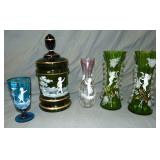 Bohemian Glass. Mary Gregory. Lot of  5.