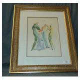 "Salvador Dali Color Wood Engraving, ""The Dance"""