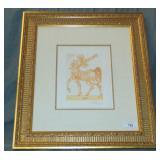 "Salvador Dali Color Wood Engraving, ""Centaur"""