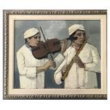 "Hubertus J. Mengels, ""Musicians"" Oil on Canvas"