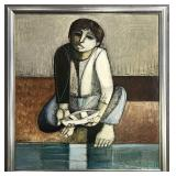 """Lucio Ranucci """"Child with Boat"""", Oil on Canvas"""