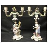 Pair Meissen Figural Allegorical Candelsticks