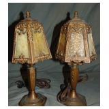 Pair of Miller Slag Glass Lamps