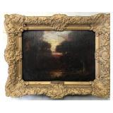 Jules Dupre, Oil on Board Landscape