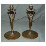 Pair of Bronze Art Nouveau Candlesticks