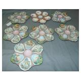 (7) Hand Painted Oyster Plates