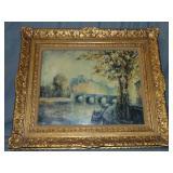"""Louis Dali """"Paris Landscape"""" Oil on Canvas"""