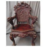 Carved Japanese Dragon Emperor Chair