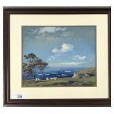 "Jean J. Pfister, W/C Gouache ""California Coast"""