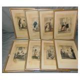 (8) John Leech Hand Colored Prints, 1 Signed