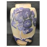 """Galle Etched Cameo Art Glass Vase """"Lilacs"""""""