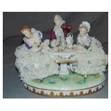 "Dresden Porcelain Crinoline Group, ""Tea Time"""