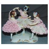 Dresden Style Porcelain Crinoline Ballerinas Group