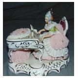 Dresden Porcelain Crinoline Figurine, Piano Player